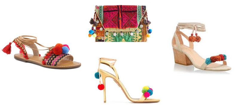 montagem de sandálias e bolsa de pompons