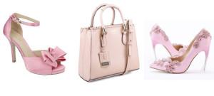 montagem de sapatos e bolsa rosa
