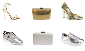 montagem de sapatos e bolsas douradas e pratas