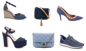 montagem de sapatos e bolsas em jeans