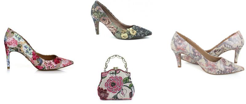 sapatos com tecidos florais montagem