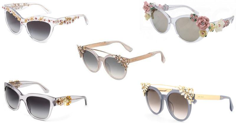 montagem de oculos escuos com cristais