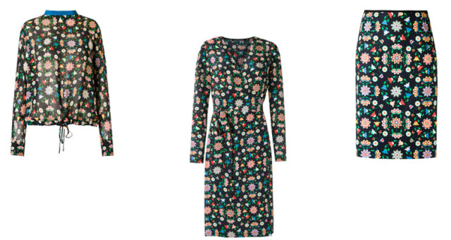 montagem de roupas com microestampas floridas escuras