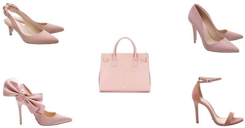 montagem de sapatos e bolsas rosa moillennial adicionar