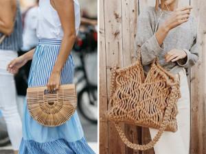 montagem de bolsas de palha adicionar verão 2019